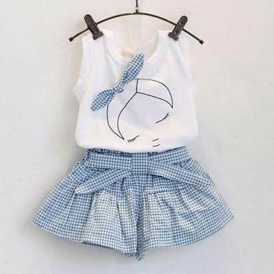 2PCS Kids Toddler Baby Girl T-shirt Tops+Shorts Pants Summer Casual Party Outfit