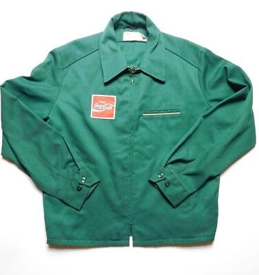 VINTAGE COCA COLA work jacket PATCH MENS M/ L USA MADE coat GREEN  42 LONG