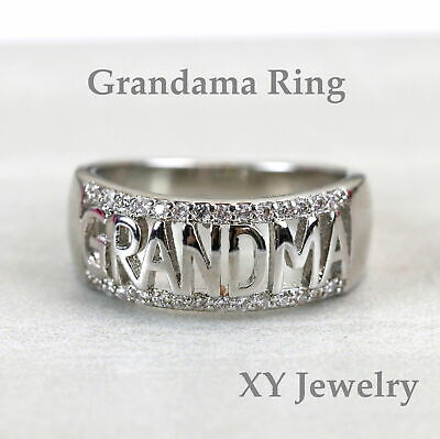 Grandma Ring Grandmother Gift 925 Sterling Silver Made in USA