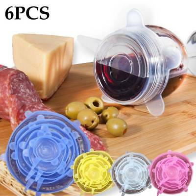 INSTA LIDS (6 PCS) Kitchen Silicone Stretch Suction Pot Cooking Stopper Cover AU