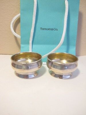 Pair Of Tiffany&co Sterling Silver 925 Footed Salt Cellars With Gilded Interior