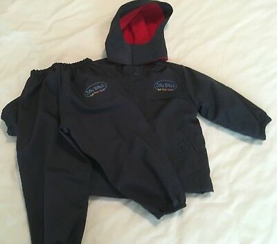 Silly Bilyz navy red waterproof rain jacket and pants size medium 2-3 years EUC