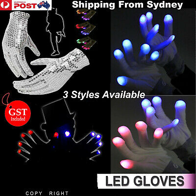 LED Light Gloves Flashing Finger Lighting Light Up Glow In the dark Rave Party