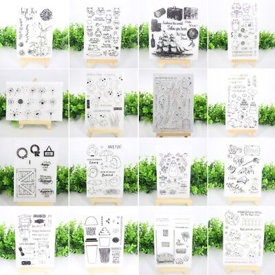 Various Transparent Silicone Clear Rubber Stamp Cling Diary Scrapbooking DIY
