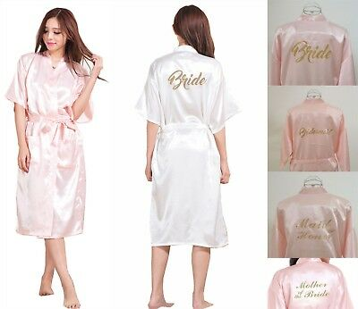 Long Satin Silk Personalized Wedding Robe Bridesmaid Bride Mother Dressing Gown