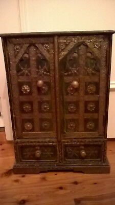 Absolutely stunning small decorative cabinet with intricate metal decoration