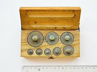 Vintage Brass Weight Set in original Wooden Box #2
