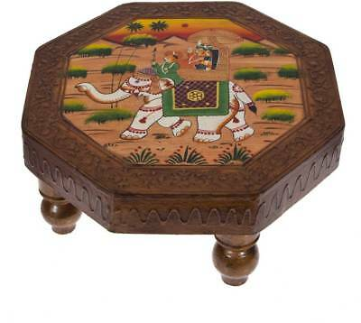 Vintage Hand Painted Wooden Foot Stool Folk Art Wood Country Decor Butcher Block