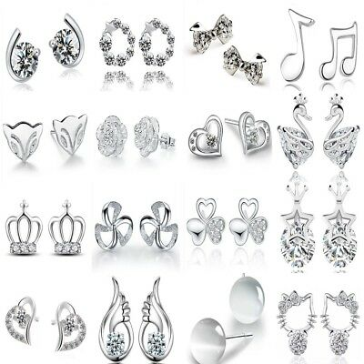 UK Womens Girls Earrings 925 Sterling Silver Plated Stud Round Small Ear Fashion