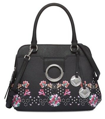 6ceae01917 Calvin Klein Saffiano Leather Floral Top Handle Satchel Purse Handbag Black  $268