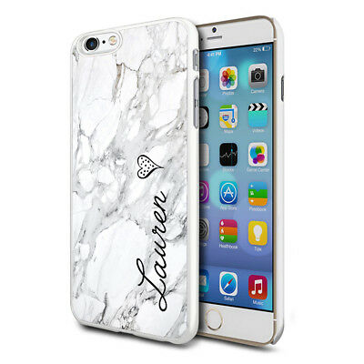Personalised Marble Phone Case Cover for Apple Samsung Initial Text Name - 06