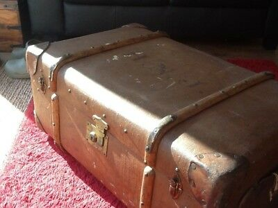 Antique Steamer Trunk c1890 - 1915 Warranted Flaxite Fibre  with wooden runners