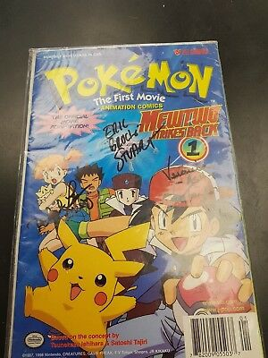Pokemon the first movie animation comic signed by Ash brock misty 2855/8000 HY