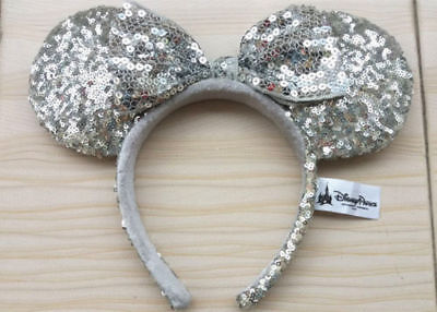 New Disney Parks Silver Sequins Minnie Mouse Ear Headband Bow Cute Hat