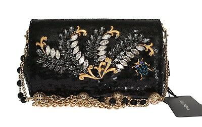 a1b62f3df0 NEW  2500 DOLCE   GABBANA Bag Purse ANNA Black Sequined Crystal Evening  Clutch