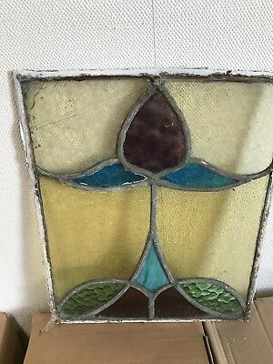 2x Antique Vintage Art Deco Nouveau stained glass panels