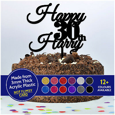 PERSONALISED Birthday Cake Topper ANY NAME + ANY AGE Custom 16 18 21 30 40 50 60