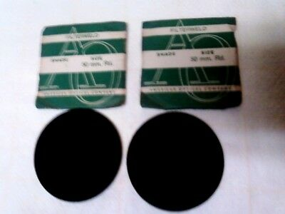 2 VINTAGE 50MM ROUND WELDING GOGGLE LENSES No.5 FILTER WELD AMERICAN OPTICAL CO.