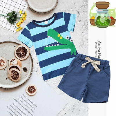 2pcs Toddler Kid Baby Boy T-shirt Tops+Short Pants Trousers Outfits Clothing Set