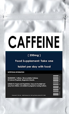 Caffeine 200mg 180 TABLETS ENERGY AND DIET PILLS UK Made Letterbox Friendly