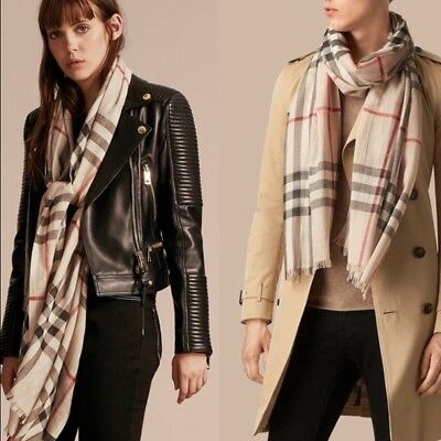 Burberry Lightweight Check Wool and Silk Stone Scarf $500