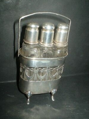 antique edwardian silver novelty perfume bottle stand and tops hallmarked 5'inch