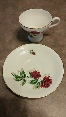 Aynsley Bone China Red Rose/White  Corset Cup & Saucer
