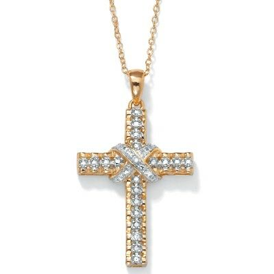 Diamond Accent 18k Yellow Gold over Sterling Silver Religious Cross Pendant
