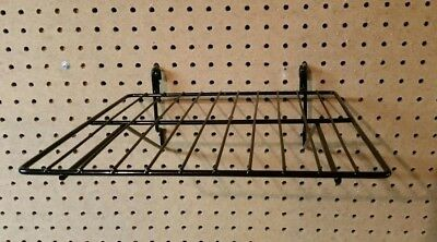 Black wire shelves for pegboard or slat wall - set of 5