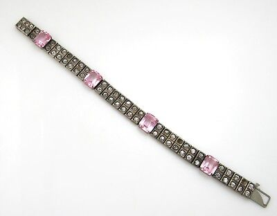 Payco Dated 1928 Pink Clear Paste Bracelet Sterling Silver Vintage Antique Deco