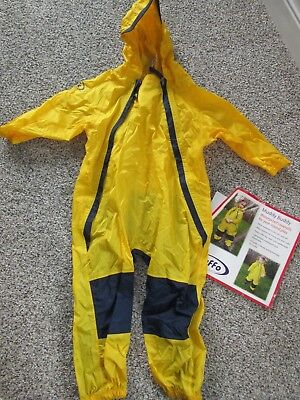 New TUFFO MUDDY BUDDY Toddler Waterproof Rain Suit Coverall - 4T Yellow Blue
