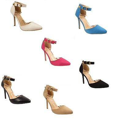 Womens Ladies High Heel Pointy Toe Stiletto Sandals Ankle Strap Court Shoes