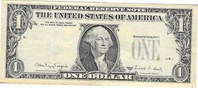 Extremely Rare One Dollar Bill Front On Back Misprint Error Note 1988