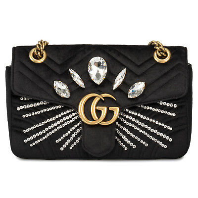 a4a5712eb Gucci Marmont Velvet Shoulder Bag in Black with Marquise Shaped Crystals