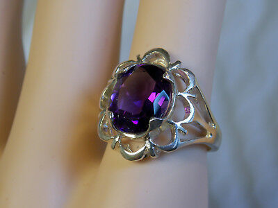 NATURAL mined 4ct purple amethyst 925 sterling silver ring size 7.75 USA