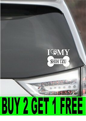 I Love My Shih Tzu Vinyl Decal Car Laptop Wall Choose Color And Size