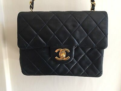Collectible Vintage Classic CHANEL Blue Mini Flap Bag France Style 80s 90s Rare