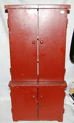 Antique Miniature Hutch Cupboard Childs Wooden Wood Primitive Cabinet