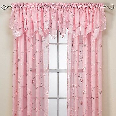 Window Valance Rod Pocket Pink Laya 70 Inches Width By 18 Inches Length