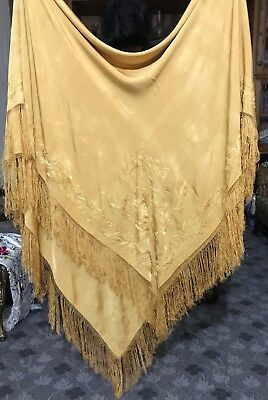 "Antique Chinese Hand Embroidery Silk Piano Shawl 70"" X 66""FRINGES 7"""