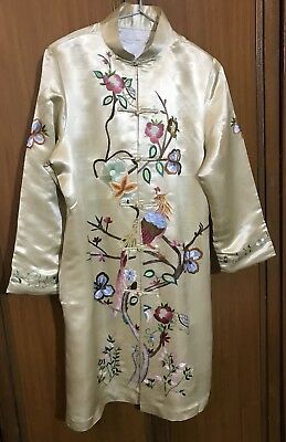 Vtg Chinese Hand Embroidered Female Peacock   Dress  jacket Silk Robe