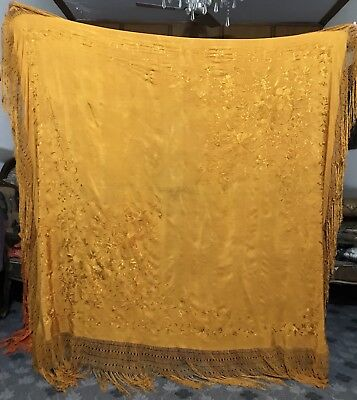 "Antique Chinese Hand Embroidery Silk Piano Shawl Pure Silk 64"" X 65"" Fringe 15"""