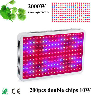 2000W Watt LED Grow Light Full Spectrum Lamp Bulb for Hydroponic Plant 110V 220V