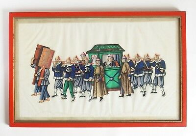 Fine antique 19th century Chinese pith painting - Dignitary in sedan chair