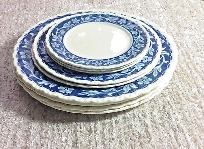 Grindley Made in England Elysian Dinnerware Plate Blue Floral China Antique VTG & GRINDLEY MADE in England Elysian Dinnerware Plate Blue Floral China ...