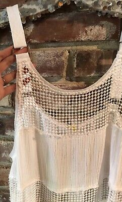 FREE PEOPLE Snap Out Of It Rings and Things White Mesh Panels Tank Top Sz Medium