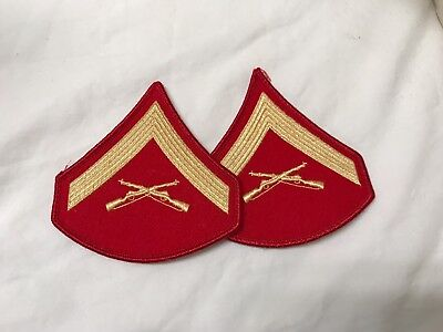 US Marine Corps L/Cpl Chevrons Gold on Scarlet wool Dress blue