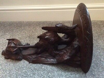 Stunning Antique Victorian Carved Wood Shelf Heron Catching A Fish