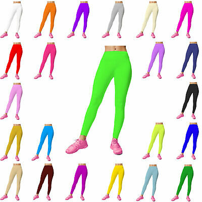 Girls Kids Footless Leggings Ballet Dance Gymnastics Shiny Nylon Lycra Size 2-14