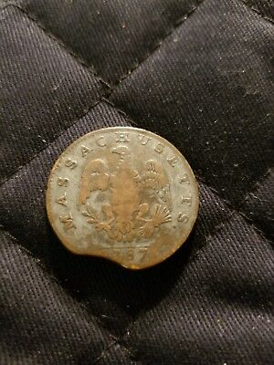 1787 Massachusetts Colonial cent/nice detail with clipped planchet!
